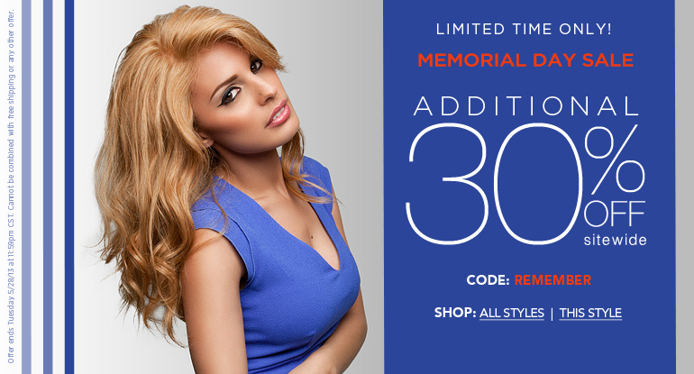 Memorial Day Wig Sale 2013 - Get 30% Off Sitewide